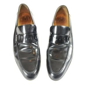 GUCCI Mens Black Leather Loafers Size 41 EJ